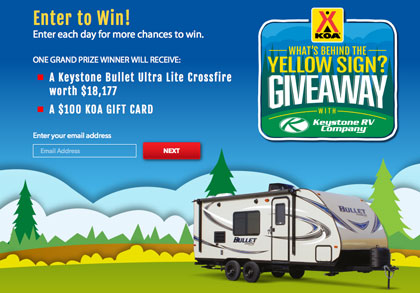 KOA What's Behind the Yellow Sign Sweepstakes