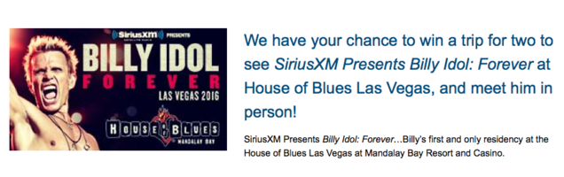Sirius XM Billy Idol Forever Sweepstakes