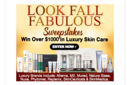 SkinCareRX Look Fall Fabulous Sweepstakes