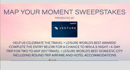 Worksheet. Travel  Leisure Map Your Moment Sweepstakes  Sun Sweeps